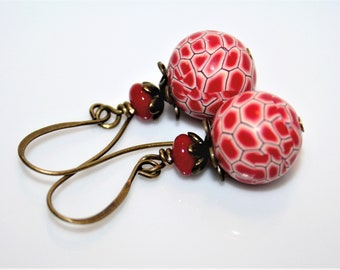 Polymer clay earrings * mosaic red *.