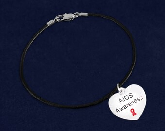 12 AIDS Awareness Heart Black Cord Bracelets (12 Bracelets) (BC-B01-6AI)