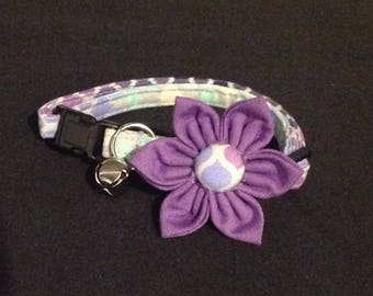 Cat Collar Flower Set - Purple Mosaic  - Availlable In 3 Sizes