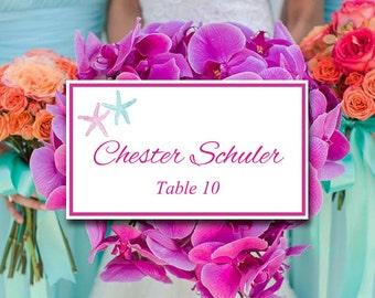"Starfish Place Card Template - Beach Wedding Escort Card ""Lazy Starfish"" Light Turquoise Fuchsia Table Card - Wedding Reception Name Card"