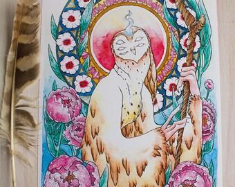 "Print ""Owl Goddess"""