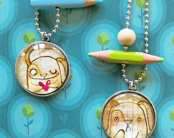 DILISA Handpainted cabochon, cammeo necklace, cute pendant made in italy, firsthand bijoux