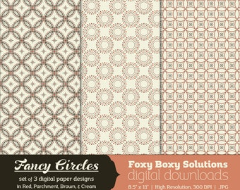 Fancy Circles: Circle Pattern Digital Papers, set of 3 in Red, Parchment, Brown, & Cream