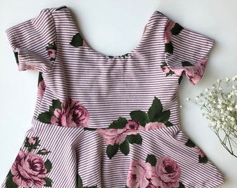 Mauve Pink Stripe Floral Peplum Top or Dress Girls 6 months to 5T
