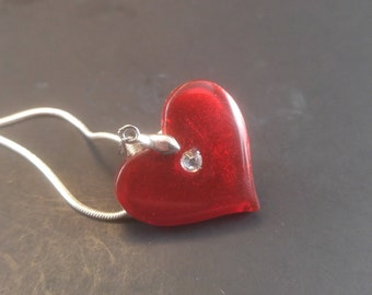 Red and Crystal Heart Pendand and Necklace