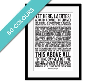 Polonius' Advice to Laertes - Hamlet Print - Shakespeare Quote Art - To Thine Own Self Be True - Hamlet Poster - Theatre Art - Literary Art