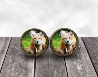 Curious Fox Resin Stud Earrings