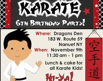 Karate Birthday Party Invitation - Customized