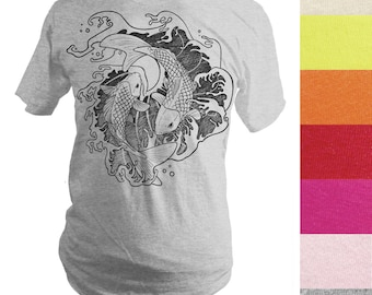 Made to Order Screen Printed T-Shirt, Fighting Koi Fish, Men, Unisex, Pick Your Size, Various Colors, Graphic Tee, Handprinted in USA
