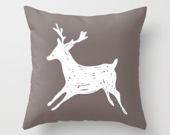 Deer Pillow Cover - Taupe Brown and White - Deer Decorative Pillow - Accent Pillow - Deer Antlers Pillow - Rustic - Cabin Decor