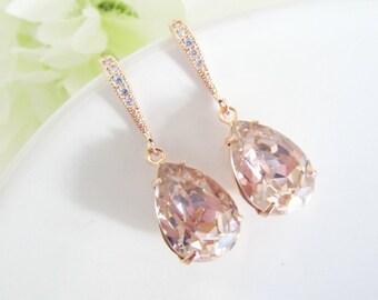 Bridesmaid Earrings, Rose Gold Earrings, Blush Teardrop Earrings, Swarovski Crystal, Bridal Earrings, Wedding Jewelry,Bridesmaids Gifts