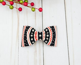 Ugly Christmas Sweater Dog Bow Tie, Black Holiday Dog Bow Tie, Christmas Dog Collar Bow, Christmas Cat Bow Tie
