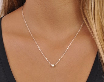 Minimal Sterling Silver Necklace; Silver Bead Necklace; Layering Necklace; Dainty Silver Necklace; Everyday Necklace; Simple Silver Necklace