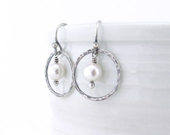 Modern Pearl Earrings Dangle Earrings Small Silver Hoop Earrings Unique Rustic Jewelry Handmade Jewelry - Dainty Dot