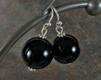 Gumball Earrings, Round Bead Earrings, Black, Chunky Earrings, Bead Earrings, Drop Earrings, Silver, Black Earrings, Ball Earrings