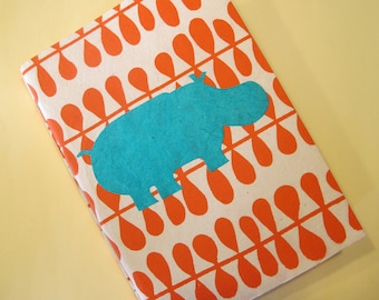 Hippo Handmade Journal Notebook: Turquoise and Orange Coptic Book