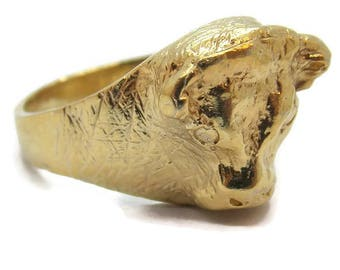 14k Solid Yellow Gold Buffalo Ring Very Detail 100% Handmade By Us.