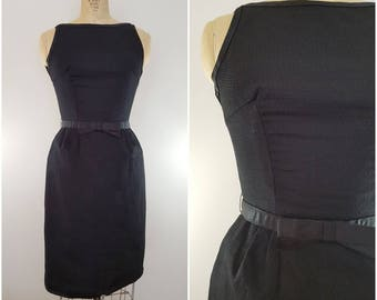 Vintage 1950s Black Wiggle Dress / Fitted Black Dress / Small