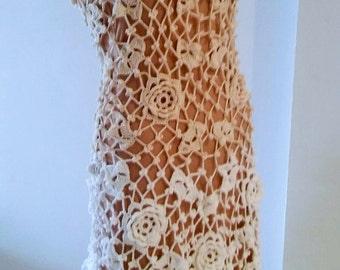 Beige/White Crochet dress
