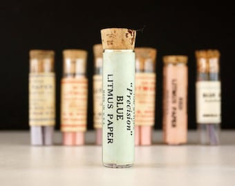 Vintage Glass Vial of Litmus Paper, Blue Paper, Green Label (c.1940s) - Science Collectible, Curio Cabinet Decor, Art, Science Oddity
