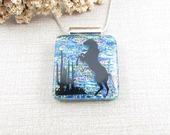 Fused Glass Horse Pendant - Green and Copper Fused Dichroic Glass Horse Pendant - Equine Jewelry - Glass Horse - Black Stallion Necklace
