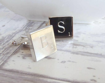 Personalized Silver Square Tile Monogram Cufflinks - Custom Cufflinks, Dad Cufflinks, Wedding Cufflinks, Silver Cufflinks, Monogram Cufflink