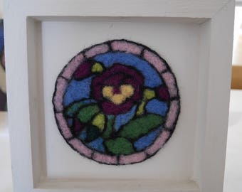 Needle felted framed flower picture