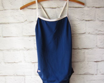 Retro Navy Blue and White Bathing Suit - Size 4 - One Piece - Speedo  - Swimsuit - Swim Suit - Cut Out  Back - Retro - Size 28- Small