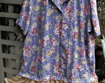 3-5X Funky Frock/ Eyelet Floral-Lace/ Spring Dress/ Refashioned Thrift/ Handmade Chic/ Casual Comfort/ Sheerfab Funwear