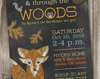 Woodland Birthday Invitation/Rustic Theme Invites/Fox Invitation/Woodland Invite/Forest Friends Invitation/Forest Animals/Fox Birthday #002