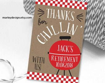 Barbeque Tags Printable Barbeque Favor Tags Retirement Tag Birthday Tag Barbeque Thank You Tags Grill Chill Favor Tags BBQ Tags BBQ Gift Tag