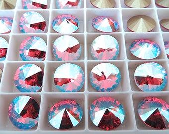 6 Rose Shimmer Foiled Swarovski  Rivoli Stone 1122 12mm