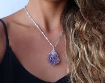 raw amethyst crystal necklace, amethyst necklace, crystal necklace