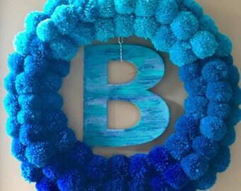 Pom Pom Wreath, Blue Ombre Pom Pom Wreath, Door Hanger, Pompom Wreath, Front Door Wreath, Home Decor, Gift For Mom, Mothers Day Gift