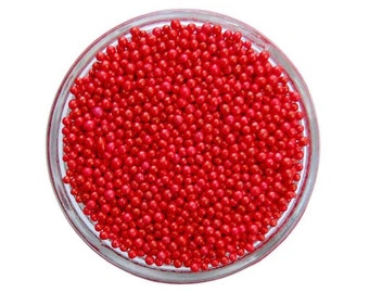 Red Non-Pareils - vibrant tiny red sprinkles for decorating cupcakes, cakes, cakepops, cookies, and ice cream