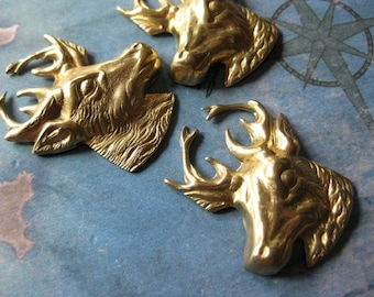 2 PC Raw Brass Deer / Stag / Buck Head Stamping - 1 Lft and 1 Rt - EE15 and 16