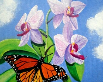 Orchids and Butterfly 8x8  Art Print from Kauai Hawaii by Marionette purple blue orange monarch