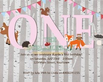 Woodland/ forest animal invitation