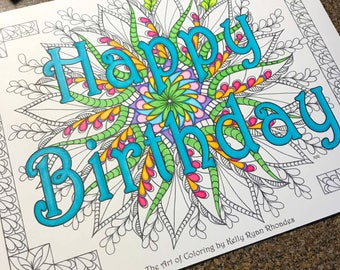 Happy Birthday coloring page from an Original drawing