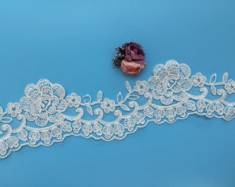 New and SALES Ivory Alencon Lace Trim, Bridal Corded Lace Trim, Embroidery Rose Lace Trim, Wedding Lace Trim, Sell By Yard (AL178)