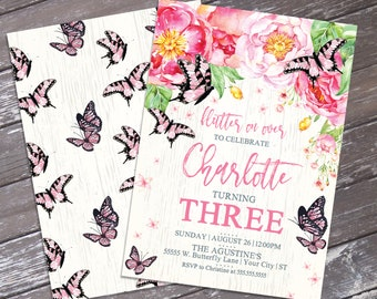 Butterfly Party Invitation - Butterflies  & Flowers Invitation, Spring, Garden Party | DIY Editable Text INSTANT DOWNLOAD Printable