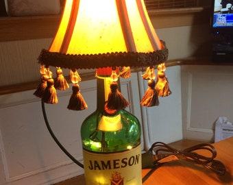 Christmas wine bottle table lamp accent blue glass silk jameson whiskey bar lamp table lamp man cave aloadofball Choice Image