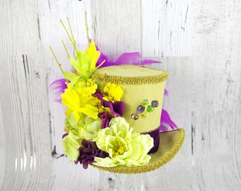 Green, Purple, and Yellow Flower Garden Large Mini Top Hat Fascinator, Alice in Wonderland, Mad Hatter Tea Party, Derby Hat