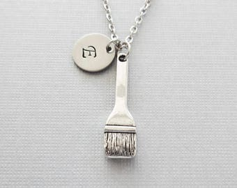 Paint Brush Necklace, Paintbrush, Painter Necklace, Painting Jewelry, Silver Jewelry, Personalized, Monogram, Hand Stamped Letter Initial