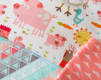 """Baby Quilt Handmade, Flannel Baby Quilt, """"On the Farm"""", Baby Girl Quilt, Made to Order"""