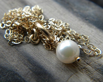 Small white cultured pearl solitaire necklace - 14k gold filled handmade jewelry - June birthstone