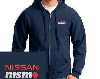 NISSAN NISMO Emboidered Hoodie Navy Blue Full Zip Hooded Sweatshirt New