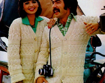 Irish Cable Sweaters Vintage Knitting Pattern Instant Download