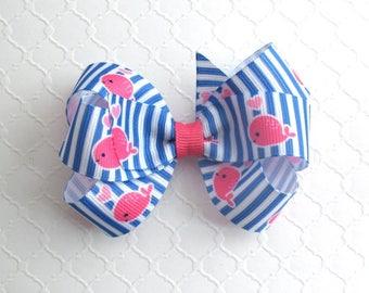 Preppy Whale Hair Bow ~ Hot Pink, Royal Blue Pinstripe Hair Bow