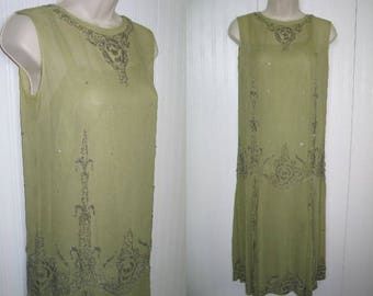 Antique Frech Dress / Circa 1923 /Antique Flapper Dress / FLEUR DE LIS / Silk Chiffon / Mercury Glass Beads Rhinestones / Provenance c1923